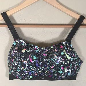Victoria's Secret Sport bra 34B black paint patter